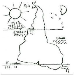 Map by Uruguayan artist Joaquín Torres García (1943)