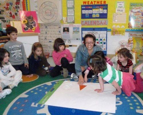 Fay Ventouris with Clarke Elementary School children
