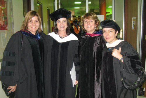 Dr. Jiménez Rivero (UPR), Rosa Montero, Dr. Pérez (UPR), and Dr. Serra (SSU), after Rosa Montero received a Doctorate Honoris Causa from the Universidad of Puerto Rico