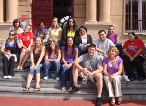 Alyssa Barras and Charles Berry with a group of SSU students in Oviedo, Spain, 2009