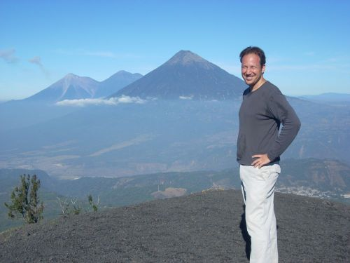 Richard Strager with Pacaya volcano in the background