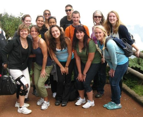 Salem State students in the Spanish immersion program in Heredia, Costa Rica, July 2012, while on a hike to Poas Volcano