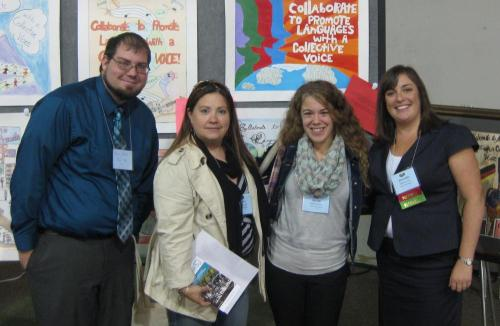 Dan Godden, Olga López, and Kaylee Hotchkiss, Spanish teachers at Palmer Public Schools pose with Massachusetts 2013 Teacher of the Year Kathleen Turner at the MaFLA Annual Fall Conference