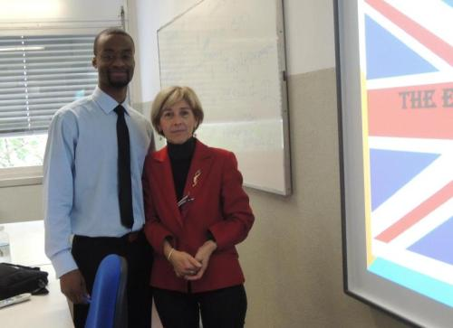 Karl Limage with the English teacher he works with in Italy