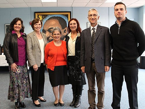 At the signing of the Memorandum of Understanding with the Italian Government. From left to right: World Languages and Cultures Chair Michele Dávila, University President Patricia Meservey, Interim Provost Amie Marks Goodwin, Professor Anna Rocca, Director of the Education Office at the Consulate General of Italy is Domenico Savio-Tecker, and student Ryan Walsh.