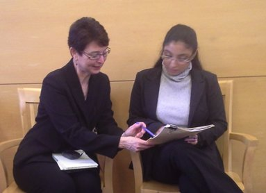 Constance Marina, Ph.D., Staff Interpreter II, OCIS and Katherine Palencia, intern, SPN385, at Chelsea District Court