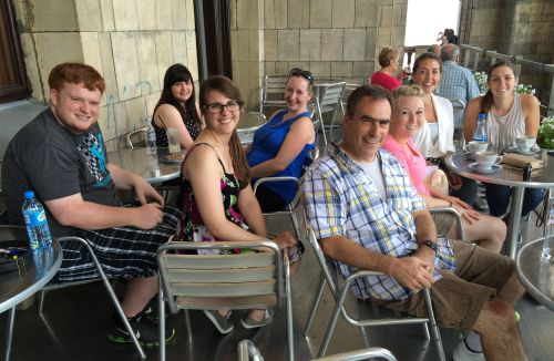 Program Participants with Dr. Chris Mauriello at the Palace of Culture and Science in Warsaw (from left to right): Brendon Clarke Coogan, Katie Michko, Molly Kavanagh, Lyndsay Caron, Dr. Chris Mauriello, Erin McLaughlin, Kristal Donnelly, and Jillian Fitzgerald