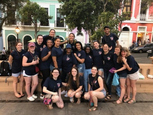 Salem State participants of the service trip to Gurabo, Puerto Rico