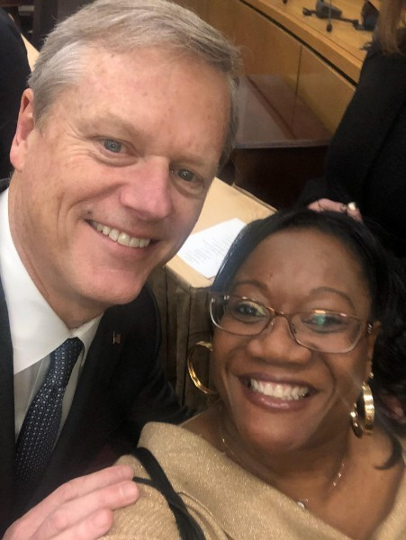 Ronni with Governor Charlie Baker